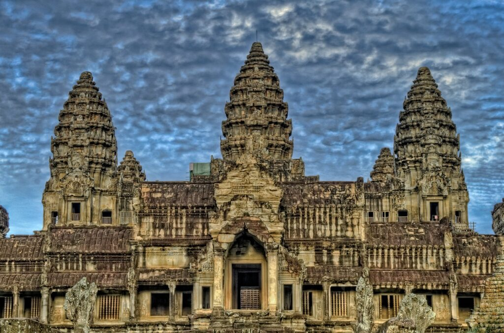 The Angkor Wat Temple is featured on the flag of Cambodia.