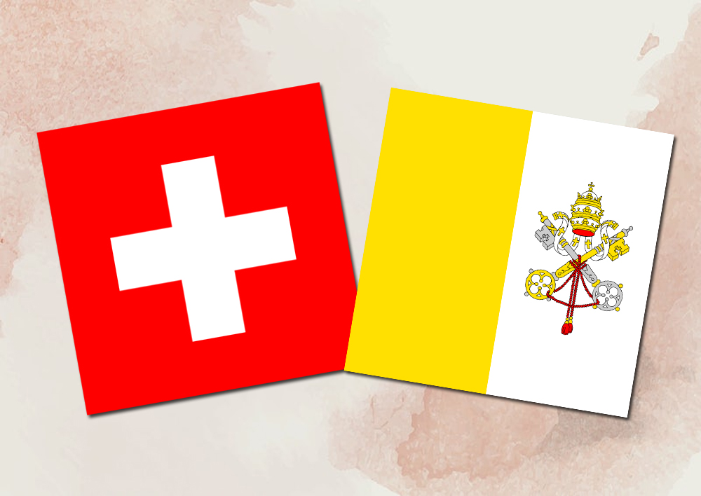 Which two countries have square-shaped flags?